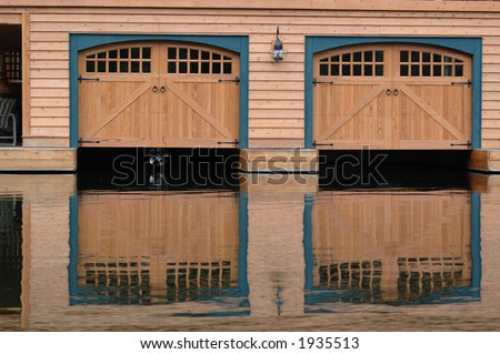 Boathouse doors in Muskoka cottage country Ontario Canada & Boathouse Doors Muskoka Cottage Country Ontario Stock Photo ...