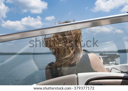 Boating at Lake Martin Alabama - stock photo