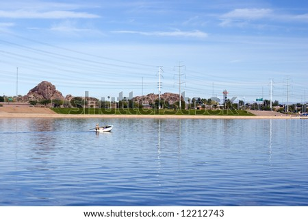 Boating Weekend at Tempe Lake, Arizona Salt River - stock photo
