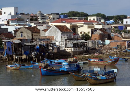 Boats and houses in Nha Trang, cventral Vietnam