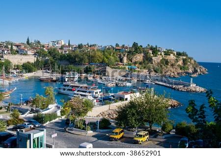 Boats at the old harbor in Antalya, Turkey - stock photo
