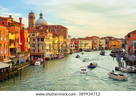 Boats crossing the Grand Canal on early morning, Venice, Italy - stock photo