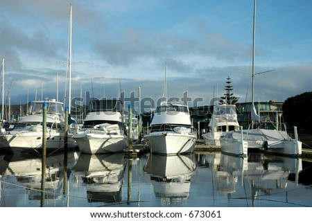 Boats dock at harbour - stock photo