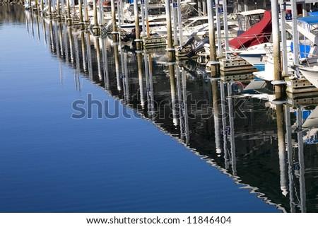 Boats Dock Ocean Reflections, Marina, Edmonds, Washington. Without trademarks. - stock photo