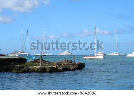 boats docked along the coast of the Caribbean coast