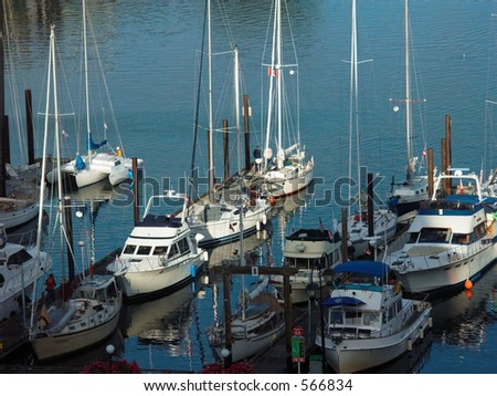 Boats docked at James Bay, Victoria B.C. Canada. - stock photo