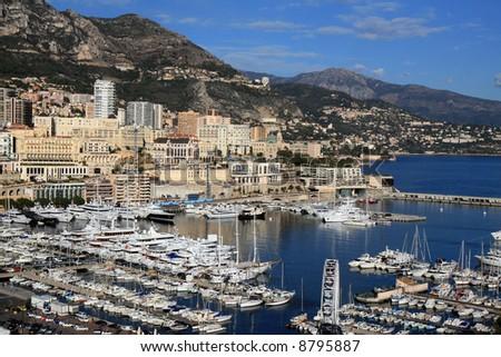 Boats docked at the marina of Monte Carlo in Monaco. - stock photo