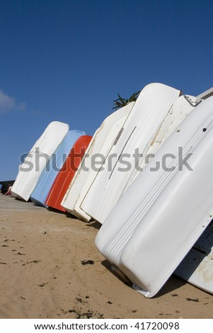 Boats drying in the summer sun Broadstairs - stock photo