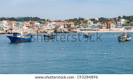 Boats harbor in the port of Cascais, Portugal