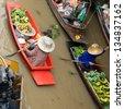 boats in Damnernsaduak floating market Thailand - stock photo