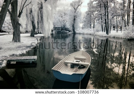 Boats in Greater Poland, Poland. The infrared image - stock photo
