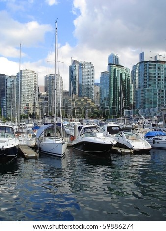 Boats in harbor, Vancouver City - stock photo