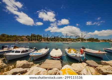 Boats in Laganas harbor on Zakynthos island, Greece - stock photo