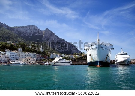 Boats in Marina Grande, Capri island - stock photo