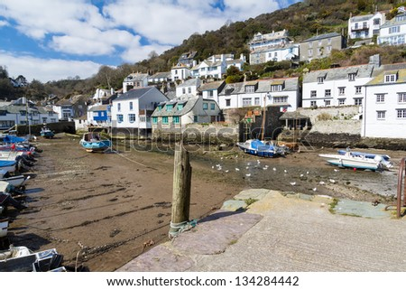 Boats in Polperro Harbour Cornwall England UK