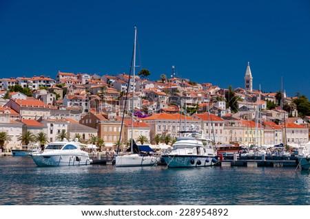 Boats in port at Mali Losinj in Croatia - stock photo