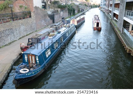Boats in Regent's Canal, London - stock photo