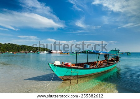 Boats in Sihanoukville, Cambodia - stock photo