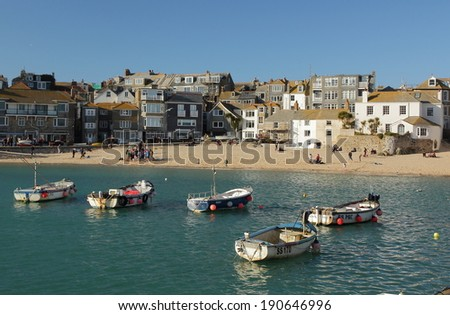 Boats in St. Ives Harbour, Cornwall
