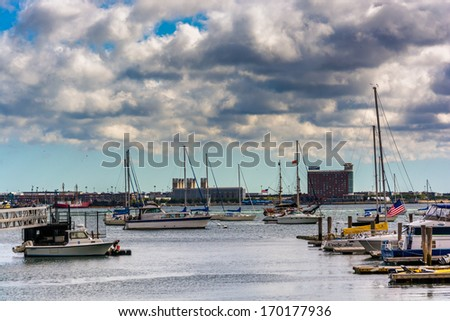 Boats in the harbor of Boston, Massachusetts. - stock photo