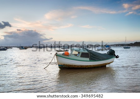 Boats in the harbour at Sandbanks in Poole, Dorset - stock photo