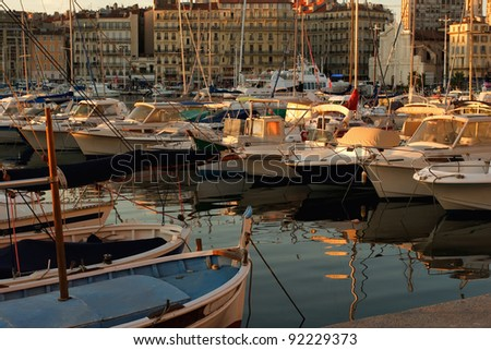 Boats in the port of Marseille - stock photo