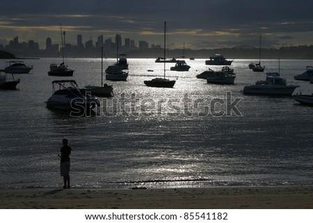 Boats in Watson Bay in Sydney suburbs New South Wales Australia - stock photo