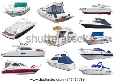 boats isolated on white background - stock photo