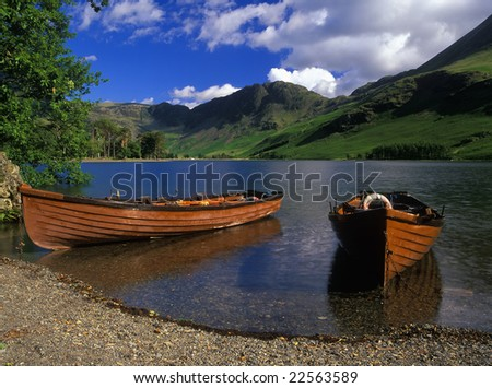 Boats Moored At Lake Buttermere The Lake District England