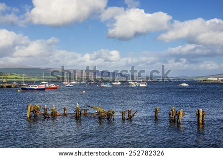 Boats moored in Gourock Bay - stock photo