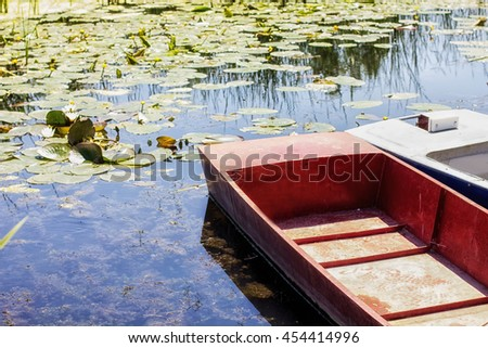 Boats on lake ,springtime, daylight, beautiful nature.
