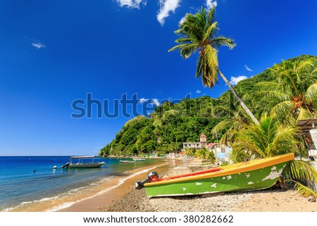 Boats on Soufriere Bay, Soufriere, Dominica - stock photo