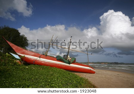 Boats on the beach, Sri Lanka