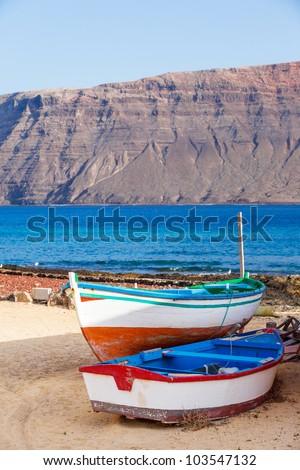 Boats on the coast. Lanzarote, Canary, Spaine - stock photo
