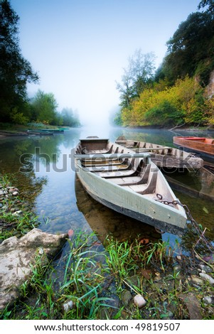 Boats on the Dordogne. Aillac, Dordogne, France.