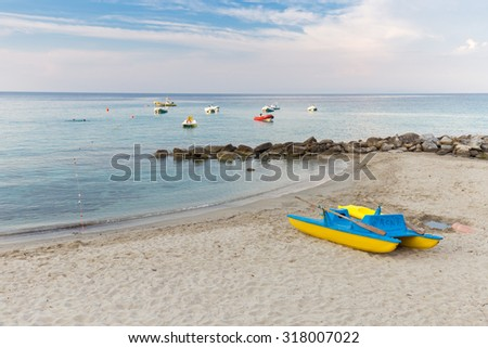 boats on the sea and on the beach