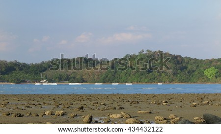 boats on the sea, evening - stock photo