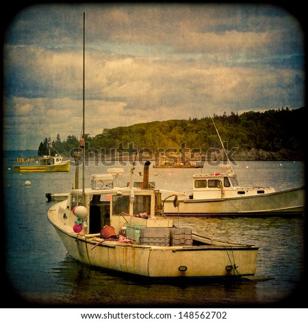 Boats on water in retro grunge style - stock photo