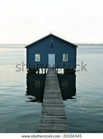 Boatshed on the Swan River - Perth - stock photo