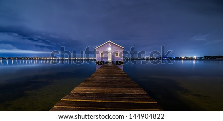 Boatshed Perth in blue night sky - stock photo