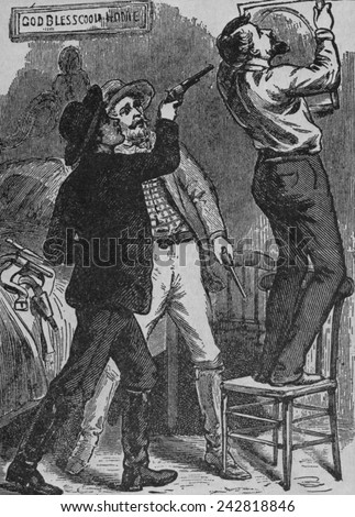 Bob Ford murdering Jesse James. His brother, Charles and Bob were Jesse's last partners, and may have been acting as a government agents or a reward seekers. April 3, 1882
