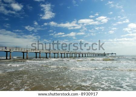 Bob Hall Pier on Padre Island in Corpus Christi, Texas - stock photo