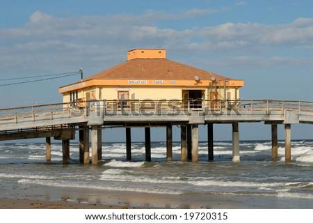 Bob Hall pier on Padre Island, Southern Texas USA - stock photo