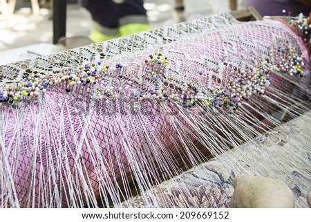 Bobbin lace sewing workshop, manufacturing