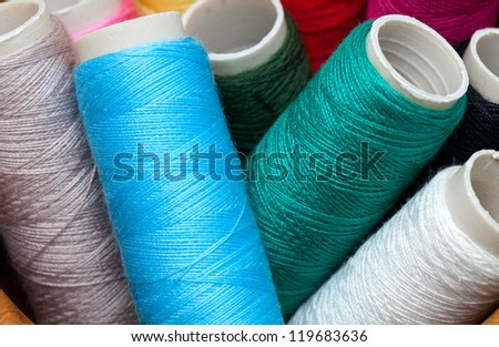 bobbins of thread close up
