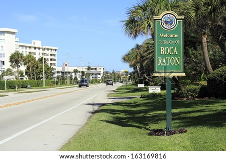 BOCA RATON, FLORIDA - FEBRUARY 1: The population of Boca Raton was estimated in 2012 to be 87,836 people with over 21% of those people over age 65 on February 1, 2013 in Boca Raton, Florida.  - stock photo