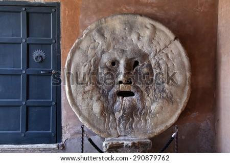 Bocca della Verita, The Mouth of Truth, Church of Santa Maria in Cosmedin in Rome, Italy - stock photo