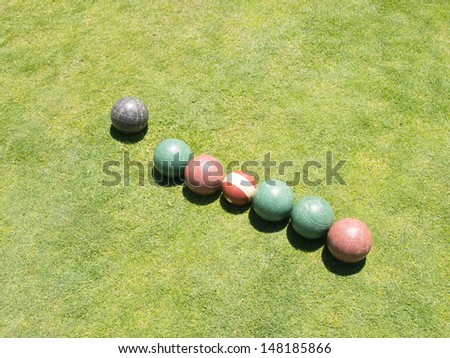 Bocce is a ball sport belonging to the boules sport family. - stock photo
