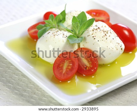 Bocconcini cheese with fresh baby tomato and olive oil - stock photo