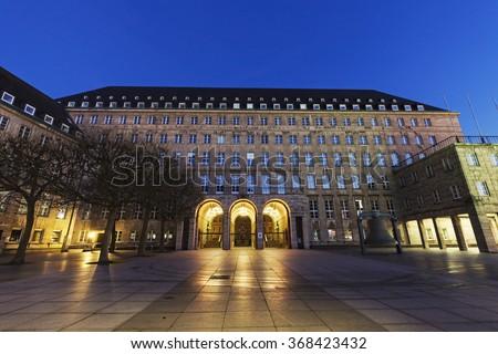 Bochum Rathaus at night. Bochum, North Rhine-Westphalia, Germany - stock photo